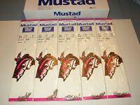 5 Packages Mustad 625 Snelled Sz 4 Beak Hooks - Free Shipping