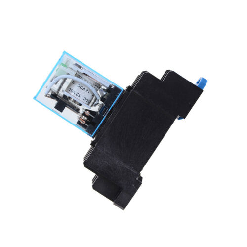 12V DC Coil Power Relay LY2NJ DPDT 8 Pin HH62P JQX-13F With Socket Base  Tn ML
