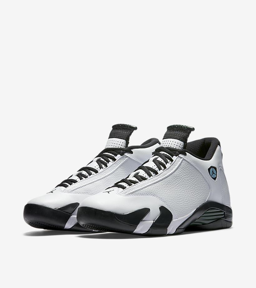 Air Jordan 14 Retro 487471-106 White Black Oxidized Green Legend Blue Sz 8.5