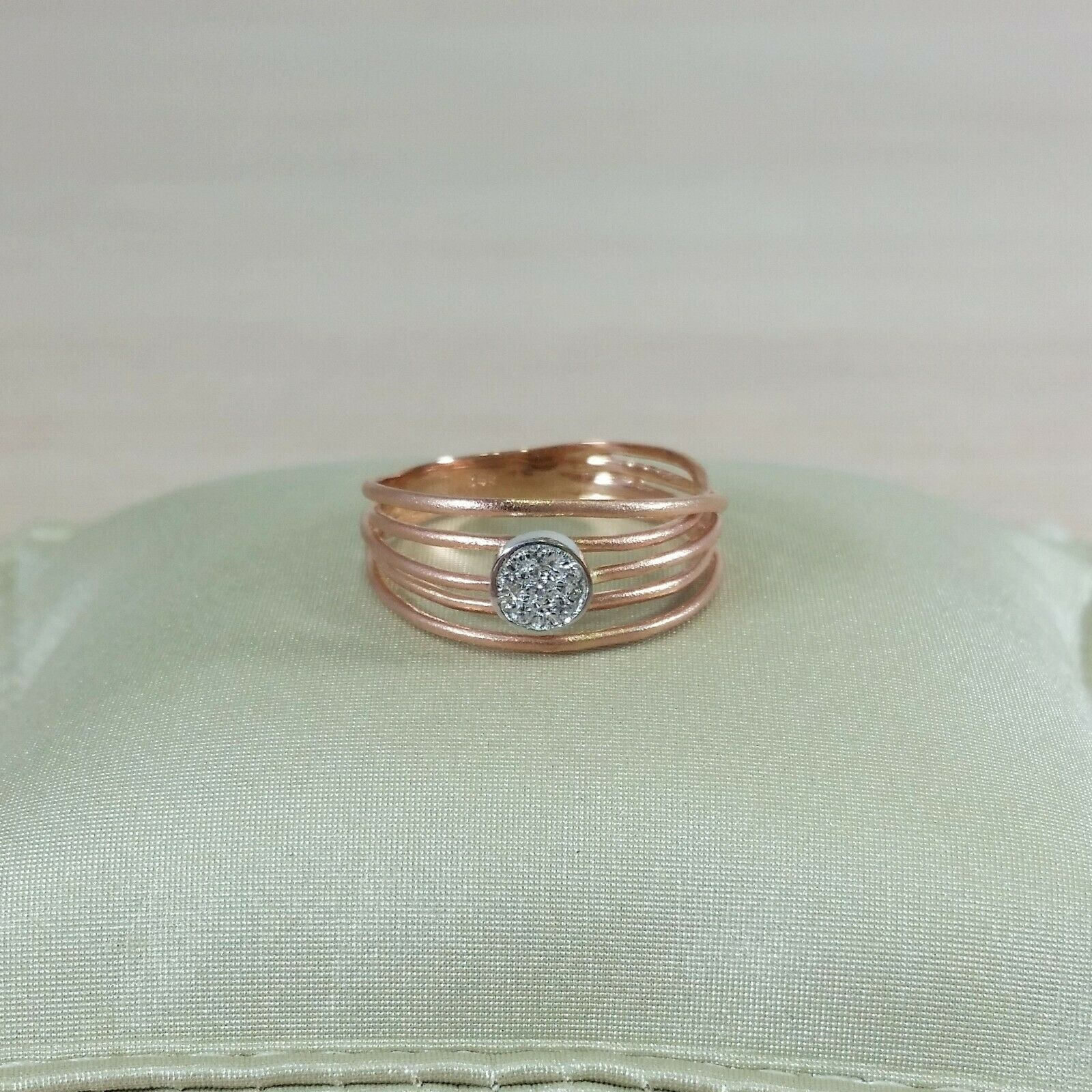 14k artisan wire design statement ring yellow,pink or white gold with diamonds