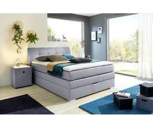 boxspringbett amelie 140 x 200 cm grau polsterbett bett jugendbett einzelbett ebay. Black Bedroom Furniture Sets. Home Design Ideas