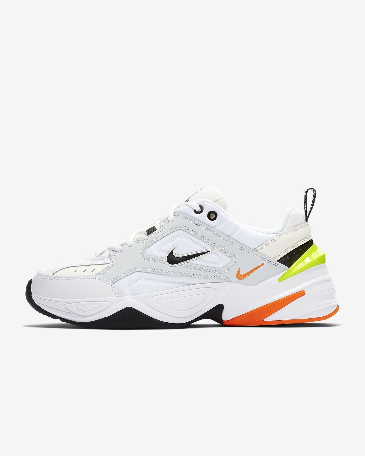 NIKE M2K TEKNO AV4789-004 PURE PLATINUM BLACK SAIL WHITE VOLT orange
