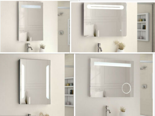 LED Illuminated Bathroom Mirror IP44 Demister Sensor Touch 4 Styles Shaving Soc