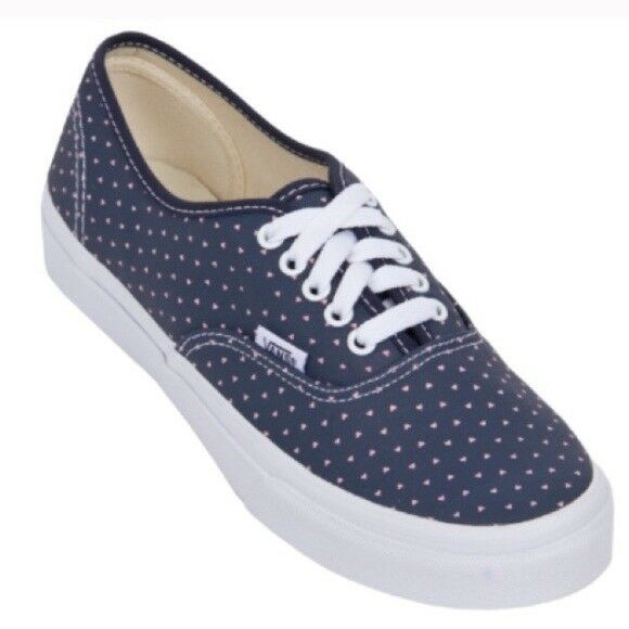 Vans AUTHENTIC SLIM Womens shoes NEW Micro Hearts NAVY PINK WHITE Free Shipping