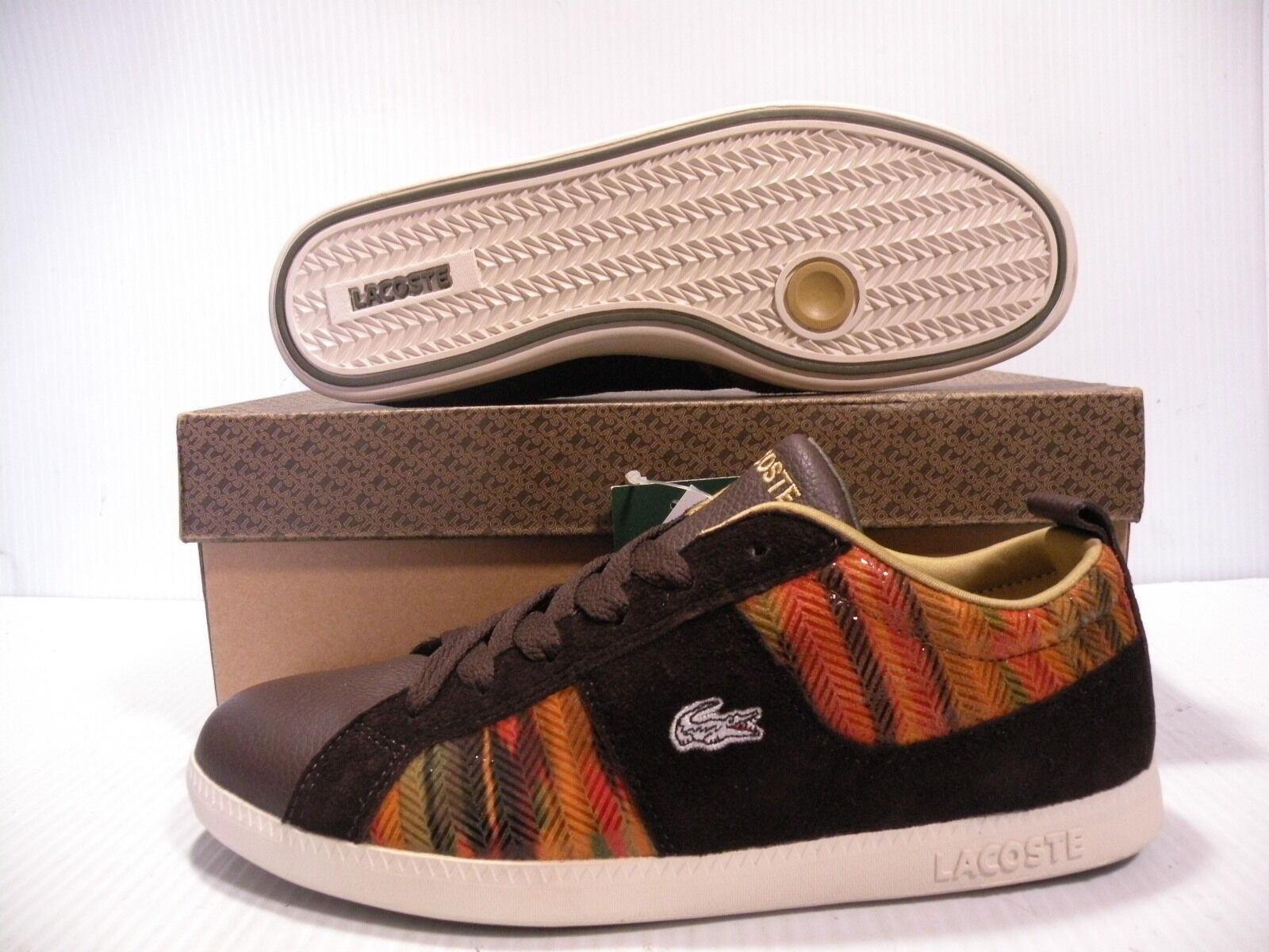 LACOSTE ABSERVE ELEMENTS LOW LEATHER WOMEN SHOES BROWN 4STW7991-L56 SIZE 8 NEW