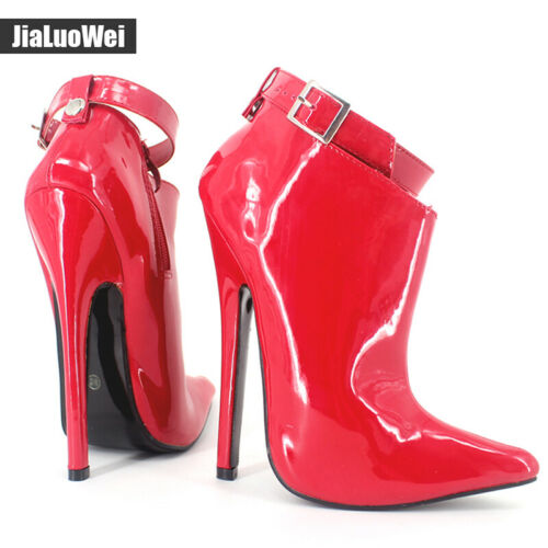 Details about  /Women/'s 18cm Stiletto High Heels Patent Leather Pointed Toe Shoes Clubwear Boots