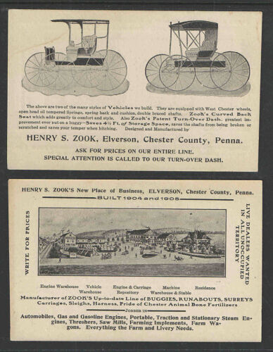 1904 HENRY ZOOK BUGGIES CHESTER COUNTY PA VICTORIAN ADVERTISING CARD