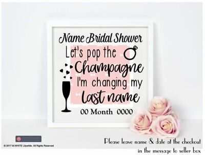 Bridal Shower Personalised Sticker for IKEA BOX FRAME Lets pop the Champagne