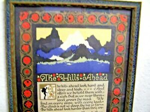 """Co.1925 """"the Hills Ahead"""" Framed Poem Douglas Malloch In Short Supply Good G.a Other Antique Decorative Arts"""