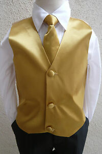 BOYS-MEN-SOLID-GOLD-VEST-NECK-BOW-TIES-TO-MATCH-TUXEDO-FORMAL-SUIT-ALL-SIZES