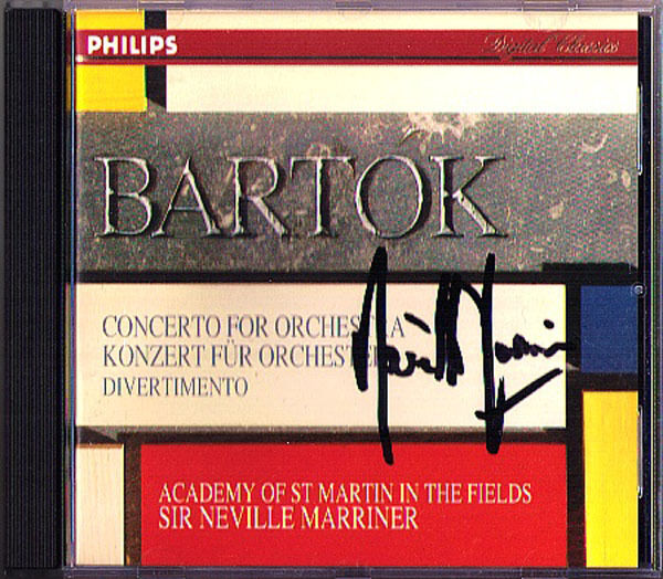 Neville MARRINER Signed BARTOK Concerto for Orchestra Divertimento for String CD