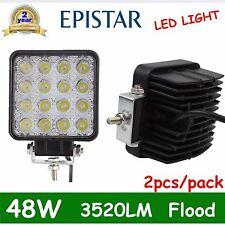 Pair 48W LED WORK LIGHT FLOOD DRIVING HEADLAMP TRUCK BOAT TRACTOR 12V 24V 4WD FL