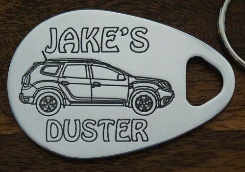 NEW SHAPE Personalised DACIA DUSTER keyring  ANY NAME engraved custom made