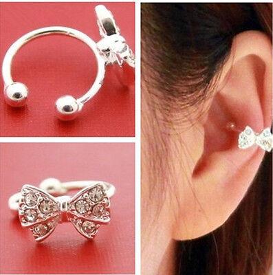 1pc Korea Bowknot Bow Rhinestone Crystal Lady Ear Cuff Bone Clip Earring Gift w8