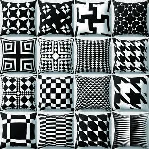 EE-QA-Nero-e-Bianco-Motivo-Geometrico-Cuscino-Federa-Copri-Divano-Arredamento-N