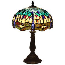 "Bieye Tiffany Stained Glass Dragonfly Table Lamp 12"" Handmade Shade, Metal Base"