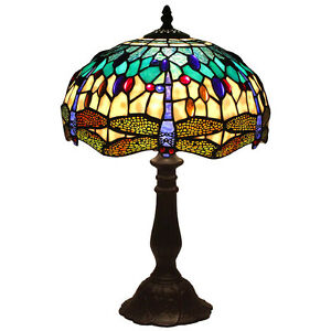 Bieye L11402 Tiffany Style Dragonfly Table Lamp With 12