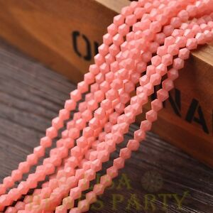 New-200pcs-4mm-Bicone-Faceted-Lustrous-Loose-Spacer-Glass-Beads-Peach-Pink