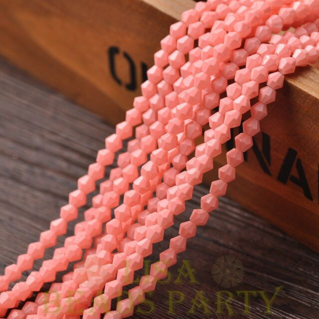 New 200pcs 4mm Bicone Faceted Lustrous Loose Spacer Glass Beads Peach Pink