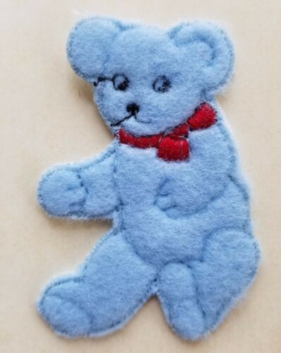 baby sewing projects Vintage Motifs Blue Wool Teddy Bear Motif made in UK