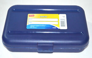 Pencil Box Plastic Case School Home Office Staples Space Maker Navy Blue | eBay