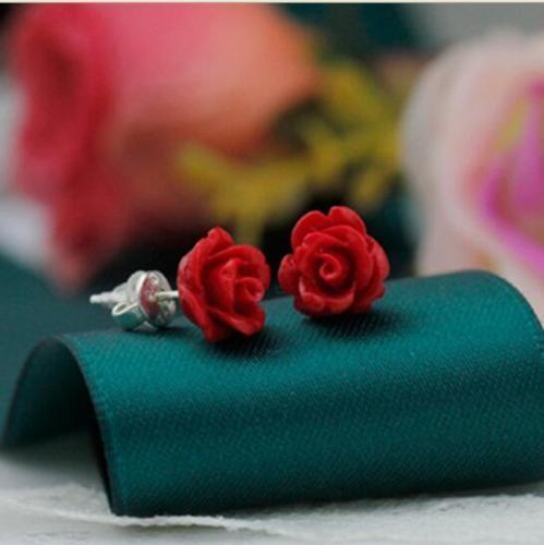 Genuine 10mm Red Coral Rose Flower Silver Stud Earring