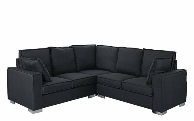 Modern Living Room Linen Fabric Sectional Sofa, L Shape Couch, 2 Pillows,  Grey