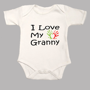 I Love My Granny Baby Grow with Heart Hand Print Vest Bodysuit Body Suit Gift