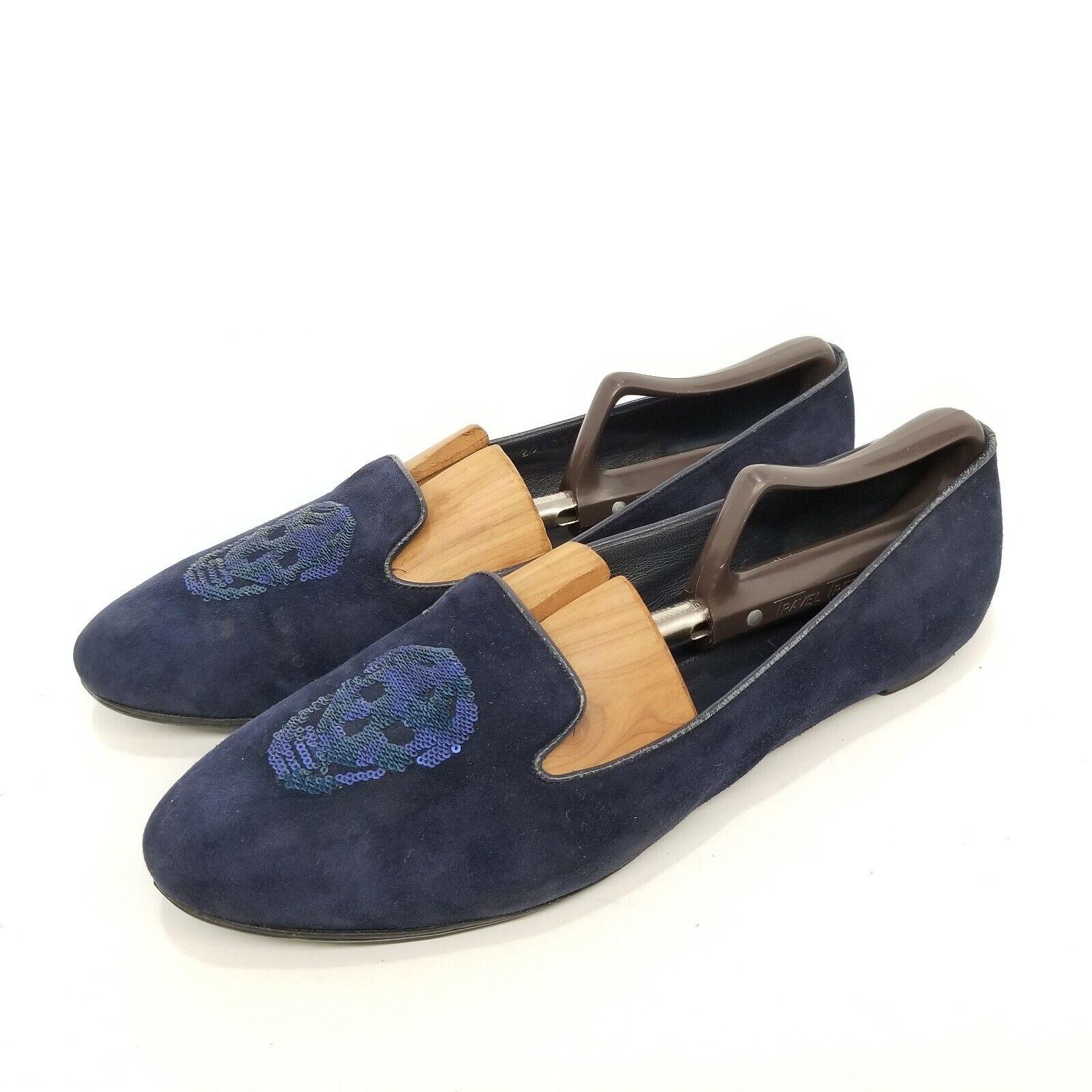 C12 Alexander mcquaen azul gamuza, lentejuelas, loafer, talla 41