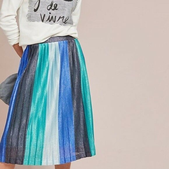 118  Anthropologie Sunburst Pleated Midi Skirt M