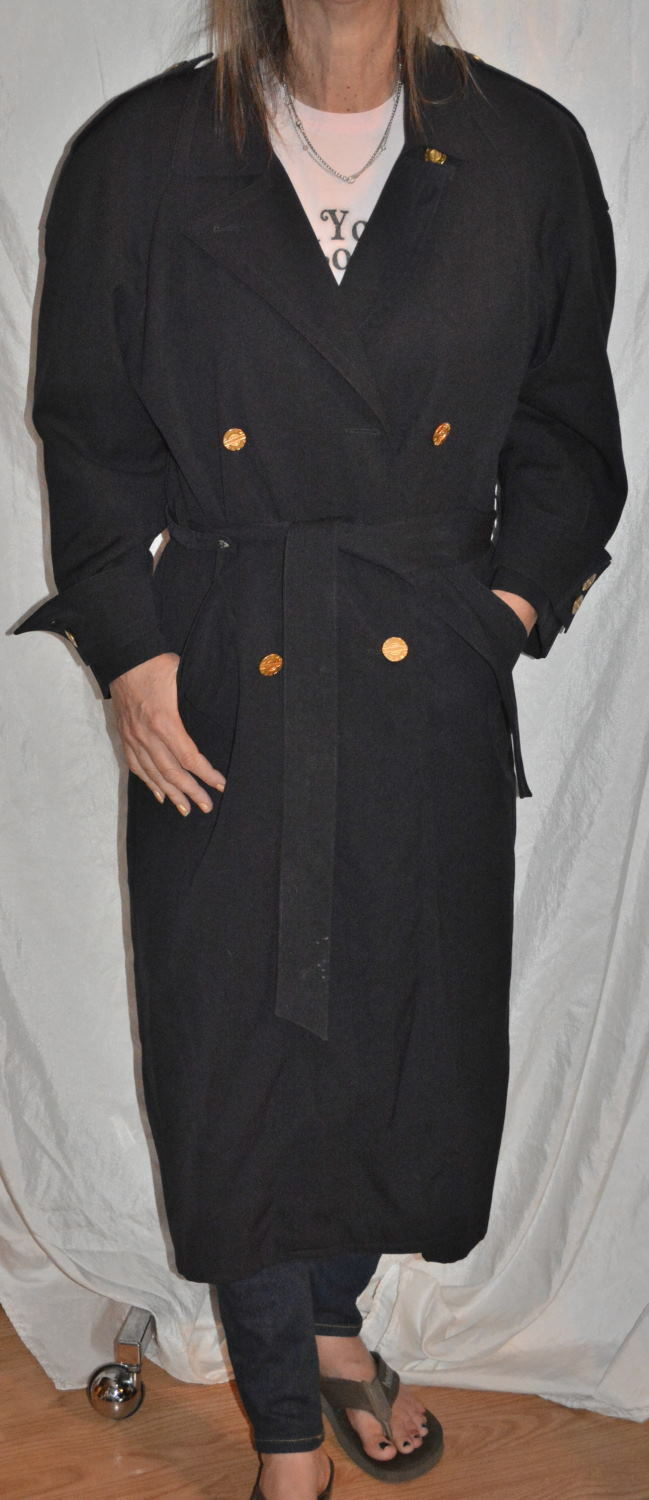 Austin Reed Women's Navy bluee Trench Long Coat removable lining size 2 vintage
