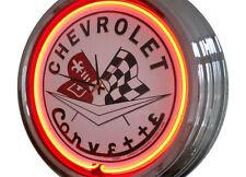 N-0234 Chevy Corvette - Deko Neon Uhr Clock Wanduhr Neonuhr Neonclock Werkstatt