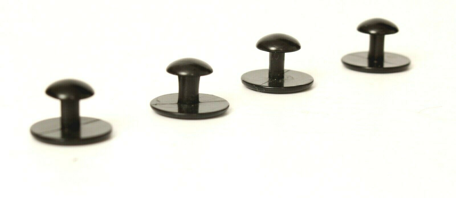 4 Black Tuxedo Studs with Rounded Top