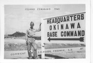 1945-WWII-USA-Okinawa-Photo-Island-Command-HQ-Sign