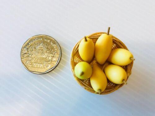Dollhouse Clay Mango Fruit Basket Food Miniature Handmade Display Scale 1:12