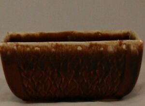 Vintage-Brown-Drip-Pottery-Planter-USA-7G-Could-be-Hull-or-McCoy