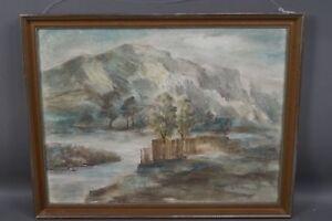 Albert-Mueller-1884-1963-Blick-auf-Dammanlage-am-Flusslauf-Pastellzeichnung