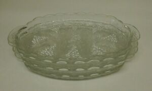 4 FOUR Vintage Clear by Anchor Hocking made in USA sets of Grapes Snack Plates /& Punch Cups