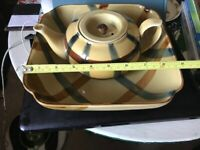 Plaid teapot and snack bowl