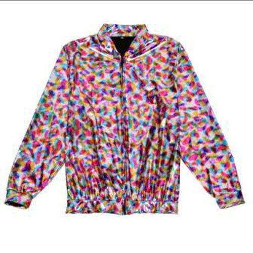 Effetto LASER Lamina Olografica Festiva Jacket-Rainbow-Varie Taglie