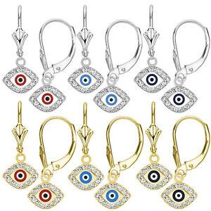 Blue Evil Eye Turkish Nazar Greek Hamsa Dangling Drop Earrings 14k White Gold