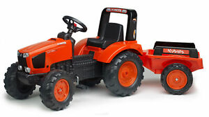 Kubtoa Branded Orange M135GX Kids Ride on Pedal Tractor with Trailer