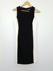Lauren Ralph Lauren Women's Pencil Dress Colour Block Black White Size 8P