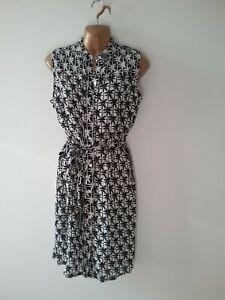 Atmosphere-8-Black-White-Palm-Trees-Smart-Sleeveless-Shirt-Dress