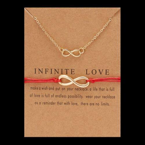 Infinity Lucky Necklack Bracelet Set Friendship Adjustable Card Jewellery Gifts