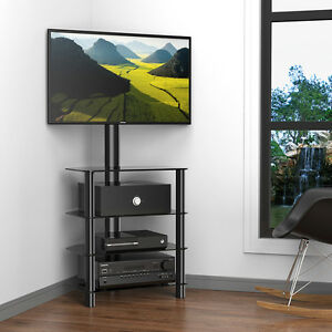 Image Is Loading Fitueyes Corner Tv Stand With Swivel Mount For
