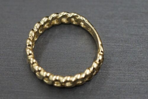 10K Solid Yellow Gold Polished 5MM Wide Cuban Curve Chain Band Ring Size 7.25