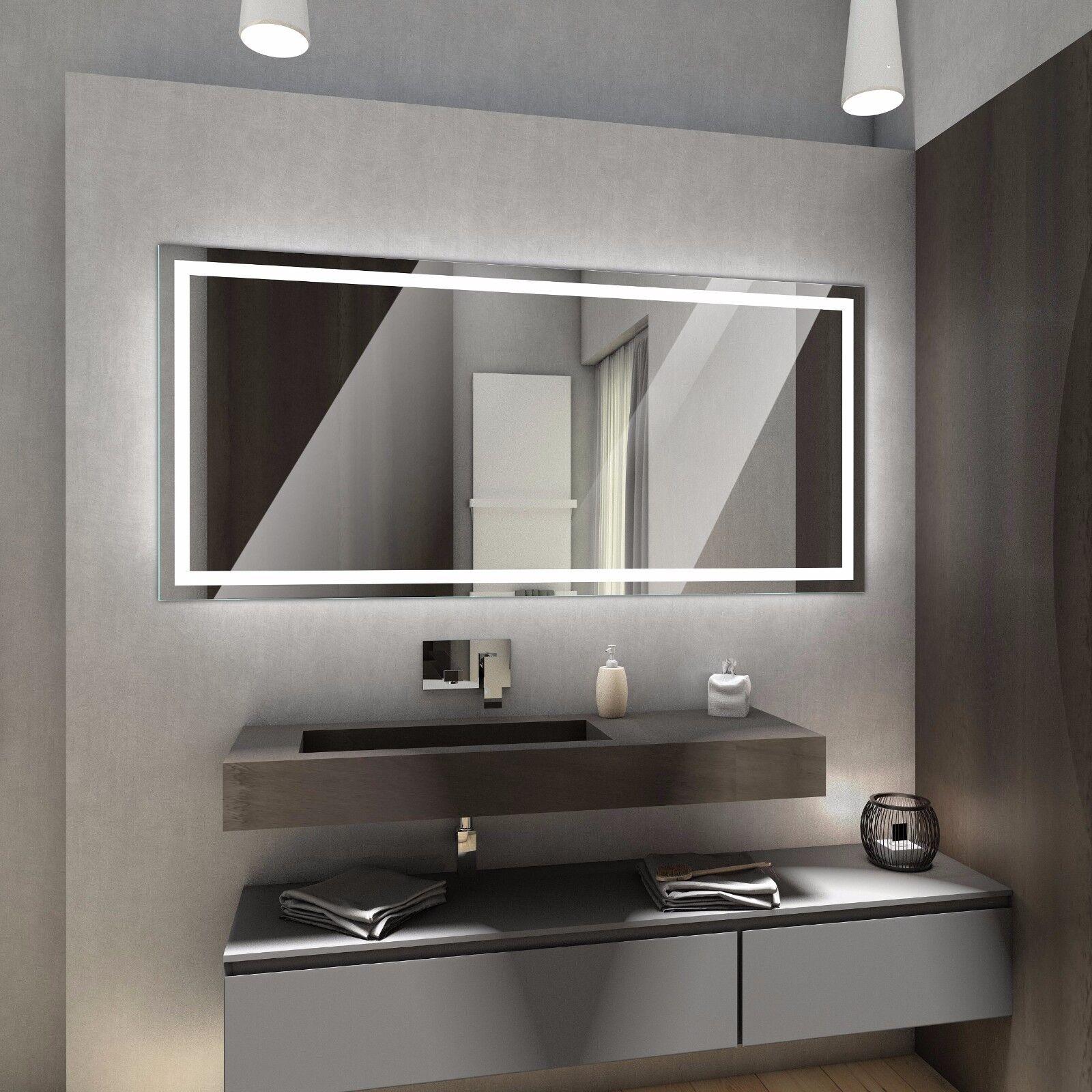 ATLANTA BadSpiegel mit LED Beleuchtung Wandspiegel Badezimmer nach Maß+Zubehör