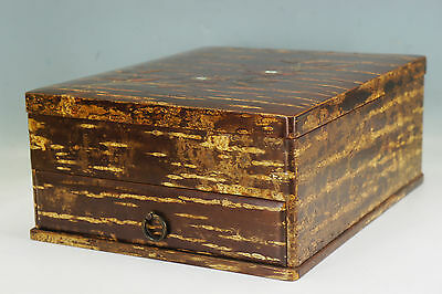 Japanese Antique KABAZAIKU Wood Birch work Box for letters 404f22