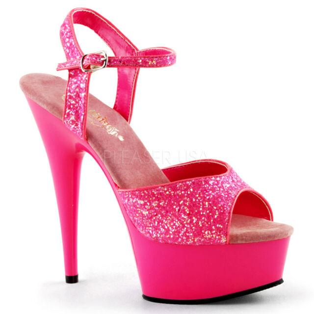Pleaser Donna S S S Delight 609 Ankle Strap Sandalo Neon Hot rosa Glitter 8be6c0